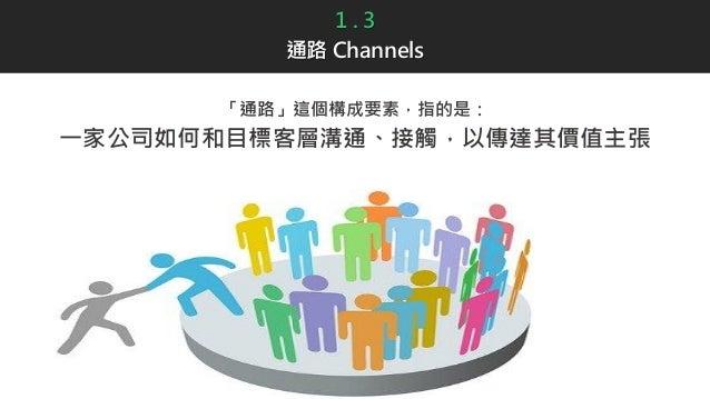 1 . 3 通路 Channels 「通路」這個構成要素,指的是: 一家公司如何和目標客層溝通、接觸,以傳達其價值主張