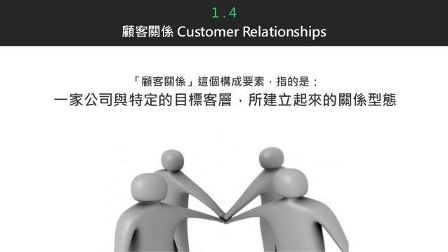1 . 4 顧客關係 Customer Relationships 「顧客關係」這個構成要素,指的是: 一家公司與特定的目標客層,所建立起來的關係型態