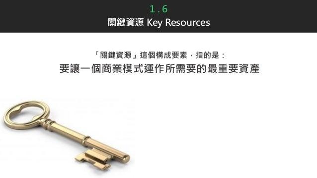 1 . 6 關鍵資源 Key Resources 「關鍵資源」這個構成要素,指的是: 要讓一個商業模式運作所需要的最重要資產