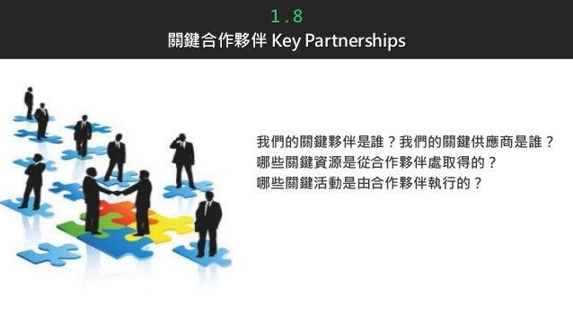 1 . 8 關鍵合作夥伴 Key Partnerships 我們的關鍵夥伴是誰?我們的關鍵供應商是誰? 哪些關鍵資源是從合作夥伴處取得的? 哪些關鍵活動是由合作夥伴執行的?