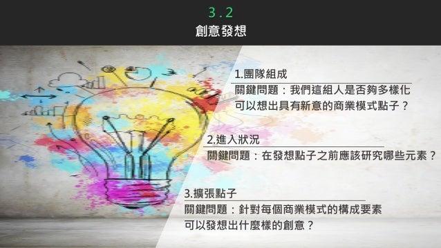 3 . 2 創意發想 1.團隊組成 關鍵問題:我們這組人是否夠多樣化 可以想出具有新意的商業模式點子? 3.擴張點子 關鍵問題:針對每個商業模式的構成要素 可以發想出什麼樣的創意? 2.進入狀況 關鍵問題:在發想點子之前應該研究哪些元素?