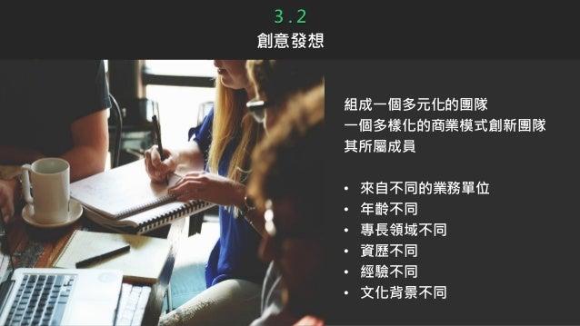 3 . 2 創意發想 組成一個多元化的團隊 一個多樣化的商業模式創新團隊 其所屬成員 • 來自不同的業務單位 • 年齡不同 • 專長領域不同 • 資歷不同 • 經驗不同 • 文化背景不同