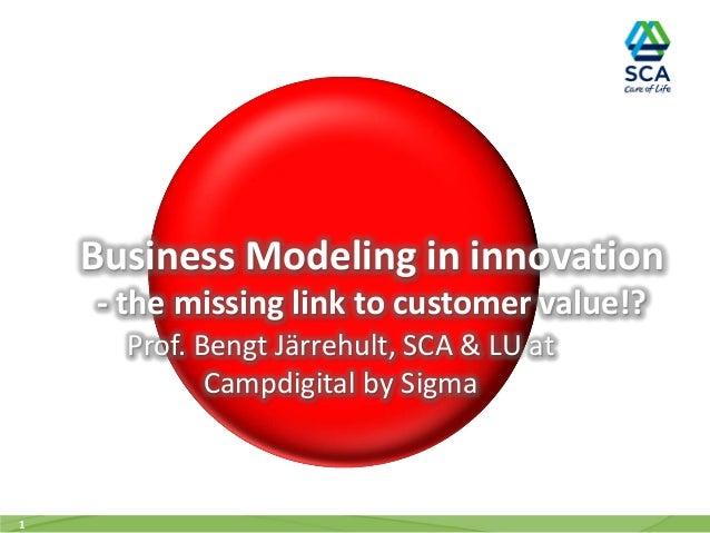 Business Modeling in innovation - the missing link to customer value!? Prof. Bengt Järrehult, SCA & LU at Campdigital by S...