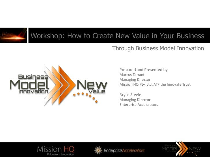 Workshop: How to Create New Value in Your Business                       Through Business Model Innovation                ...