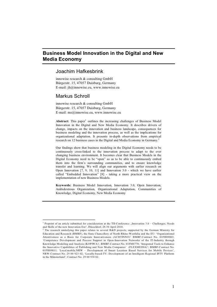 Business Model Innovation in the Digital and New Media Economy            Joachim Hafkesbrink           innowise research ...