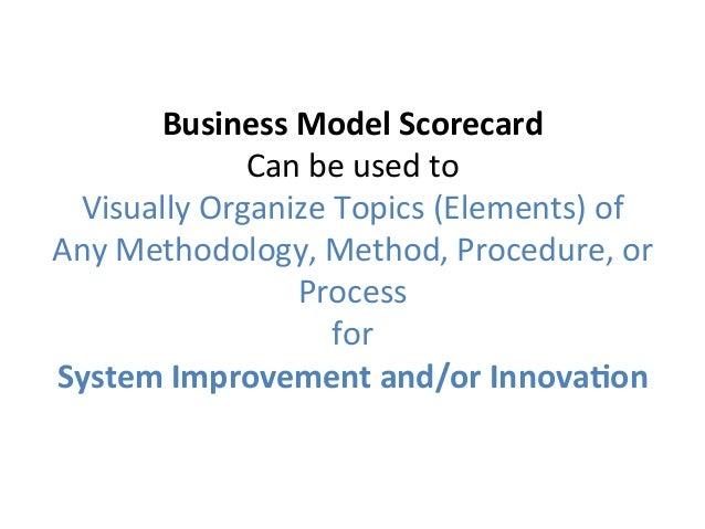 BusinessModelScorecard Canbeusedto VisuallyOrganizeTopics(Elements)of AnyMethodology,Method,Procedure,o...