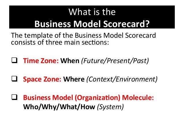 Whatisthe BusinessModelScorecard? ThetemplateoftheBusinessModelScorecard consistsofthreemainsec8ons: ...