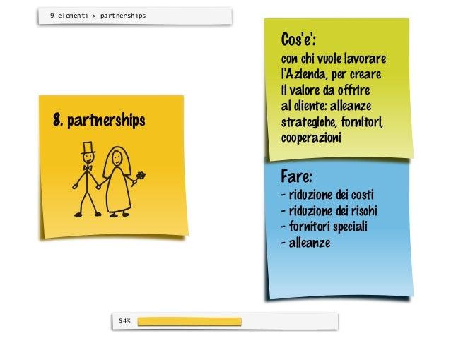 9 elementi > partnerships                            Cose:                            con chi vuole lavorare              ...