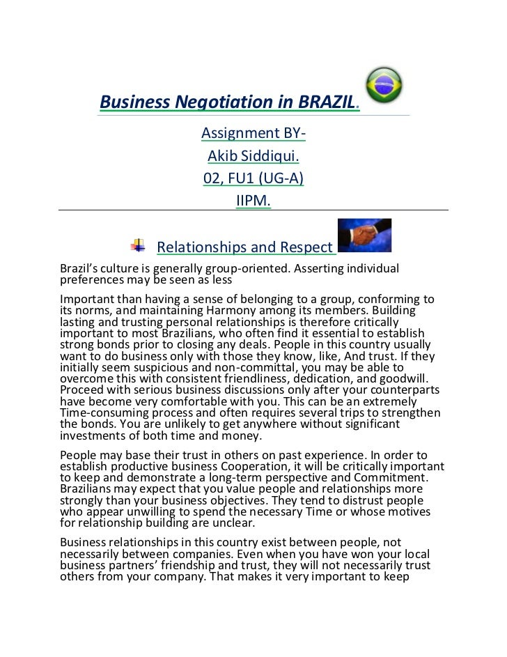 Business Negotiation in BRAZIL.                           Assignment BY-                            Akib Siddiqui.        ...