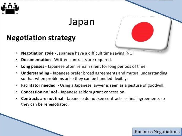 Negotiation style of the japanese