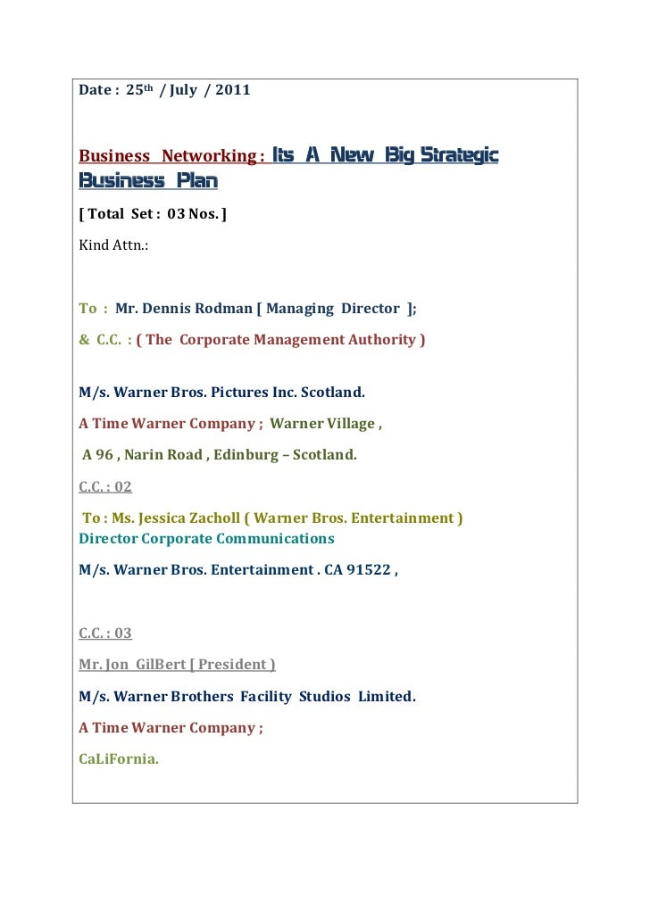 Date :  25th  / July  / 2011<br />Business   Networking :  Its  A  New  Big Strategic  Business  Plan  <br />[ Total  Set ...