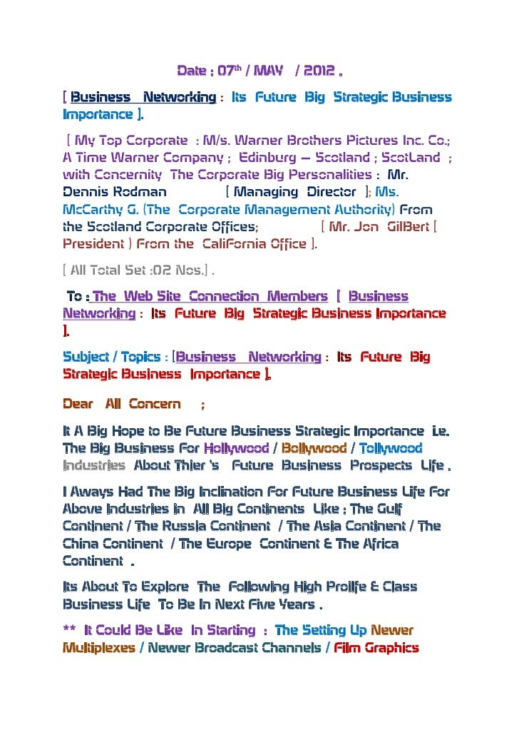 Date : 07th / MAY   / 2012 .[ Business Networking : Its Future Big Strategic BusinessImportance ]. [ My Top Corporate : M/...