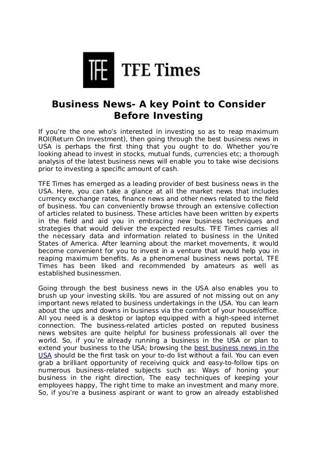 Business News- A Key Point to Consider Before Investing