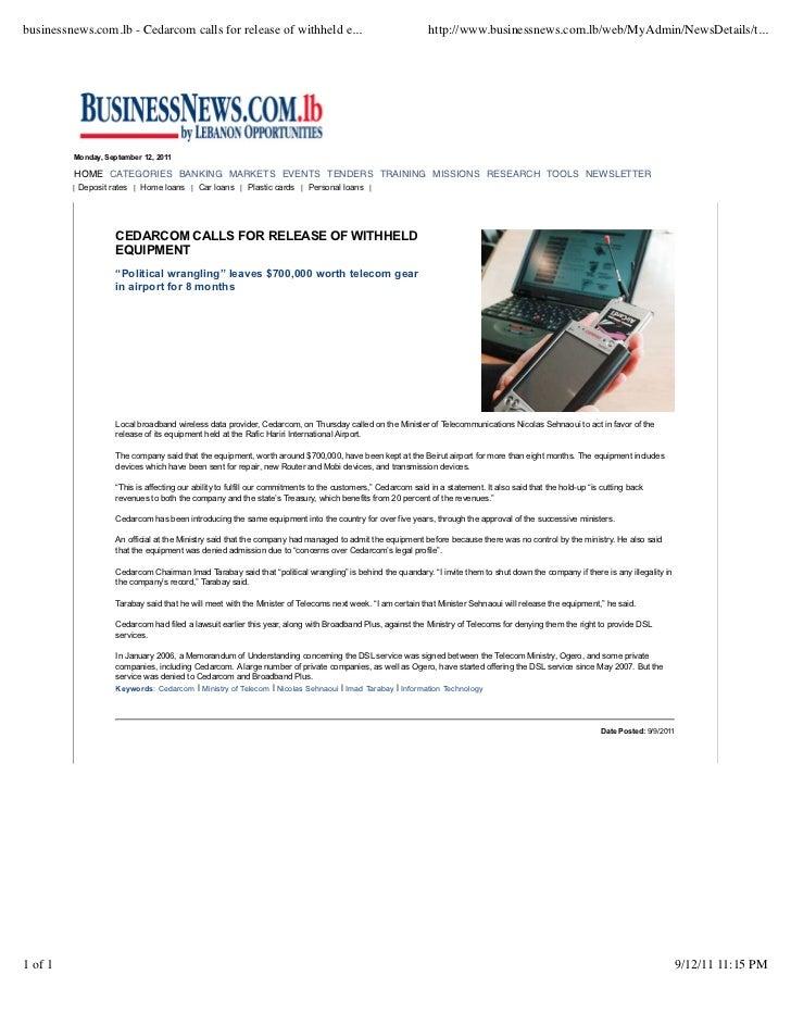 businessnews.com.lb - Cedarcom calls for release of withheld e...                                             http://www.b...