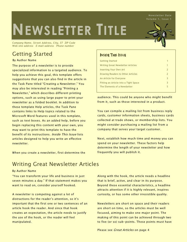 Inside This IssueGetting Started1Writing Great Newsletter Articles1Inserting Your Own Art2Drawing Readers to Other Article...