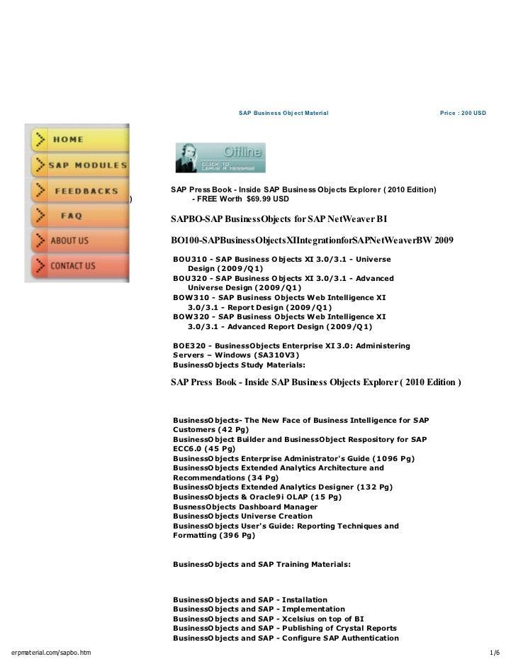sap business object material rh slideshare net