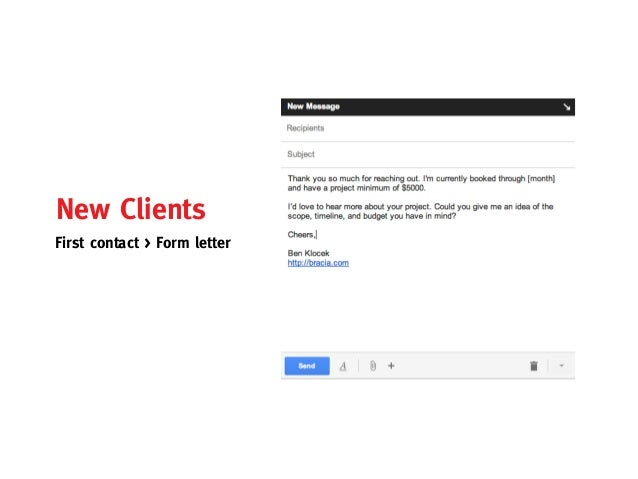 New ClientsFirst contact > Form letter