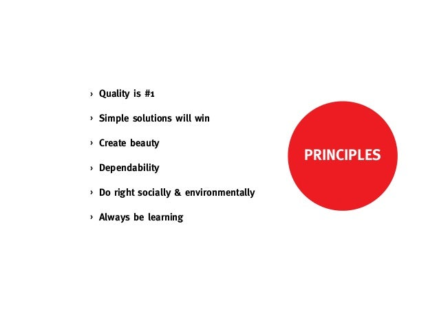 >   Quality is #1>   Simple solutions will win>   Create beauty                                          PRINCIPLES>   Dep...