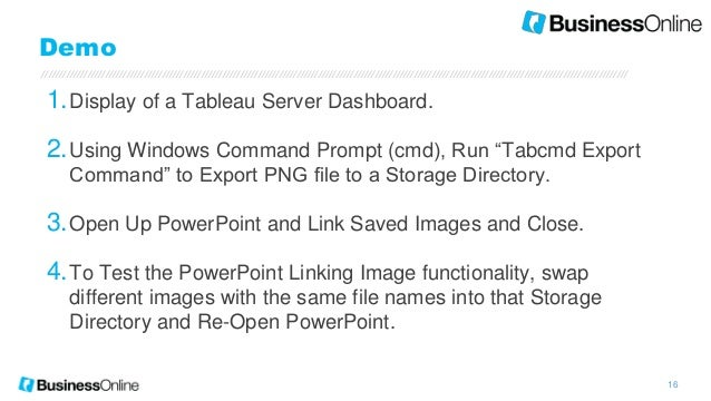 BusinessOnline - Automating PPT with Tableau Dashboards