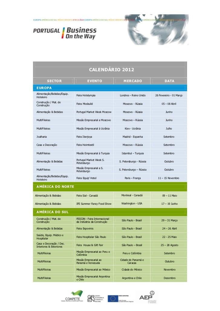 CALENDÁRIO 2012             SECTOR                    EVENTO                   MERCADO                       DATA EUROPA A...