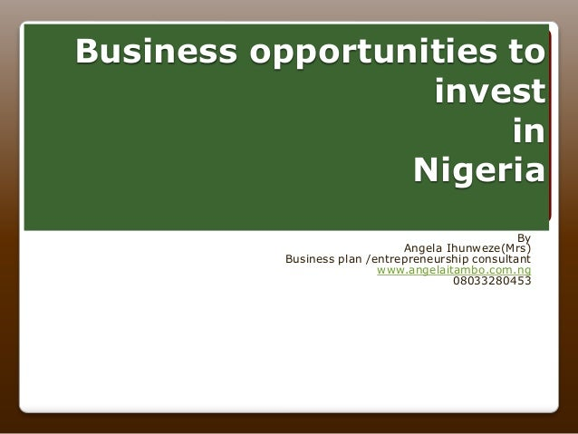 Business opportunities to invest in Nigeria By Angela Ihunweze(Mrs) Business plan /entrepreneurship consultant www.angelai...