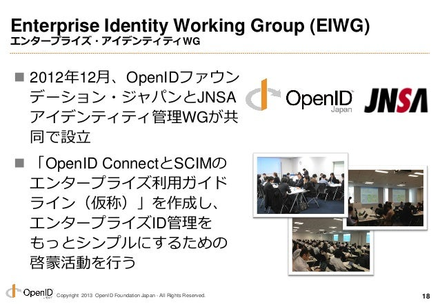 Copyright 2013 OpenID Foundation Japan - All Rights Reserved. Enterprise Identity Working Group (EIWG) エンタープライズ・アイデンティティWG...