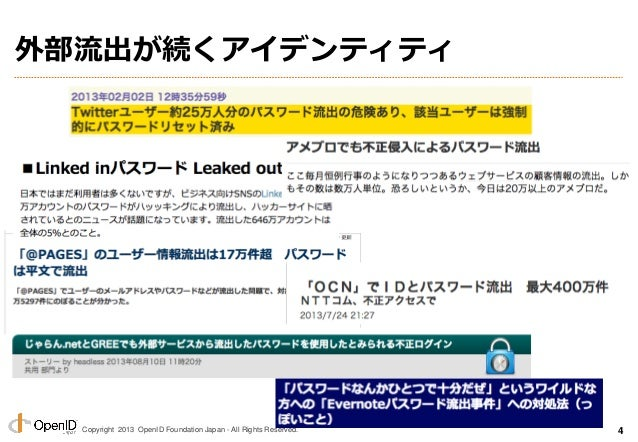 Copyright 2013 OpenID Foundation Japan - All Rights Reserved. 外部流出が続くアイデンティティ 4