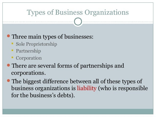 what are the primary differences between sole proprietorship partnership and corporation forms of bu Legal forms and agreements franchise disclosure review  legal document review   when a sole proprietorship or a partnership is sued, the personal assets of the owners, such as bank accounts and houses, may be subject to the plaintiff's claims  neither entity is subject to double taxation, which occurs when a corporation must pay.
