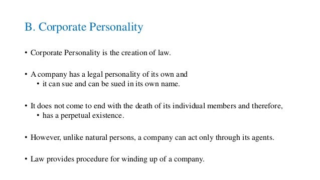 what is corporate personality in company law