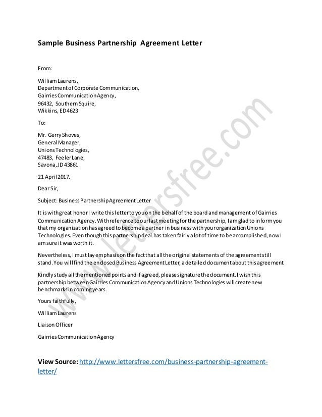 Business partnership agreement letter template for Corporate partnership agreement template