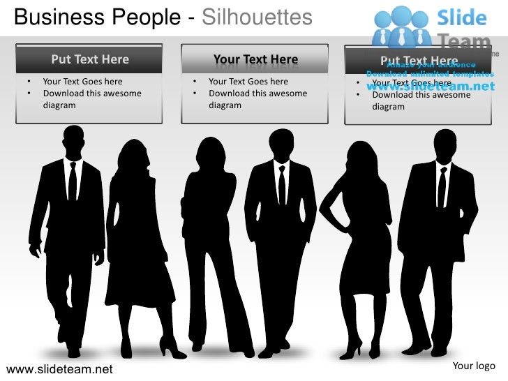 Business People - Silhouettes        Put Text Here               Your Text Here              Put Text Here   •   Your Text...