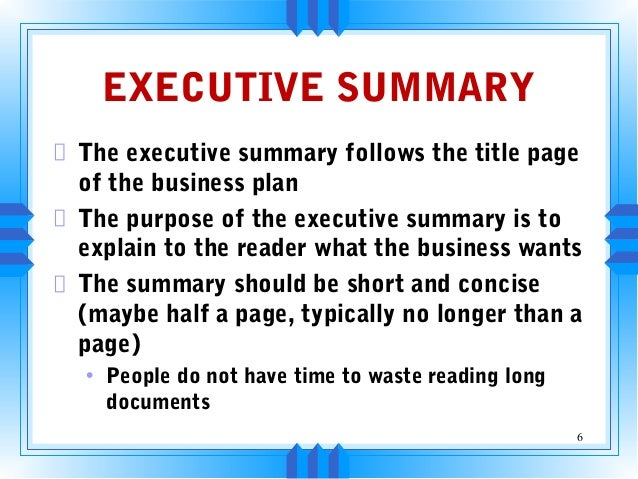 Business Plan: Composing Your Executive Summary