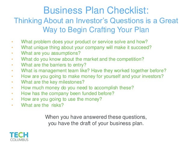 10 critical questions for a business plan growthink