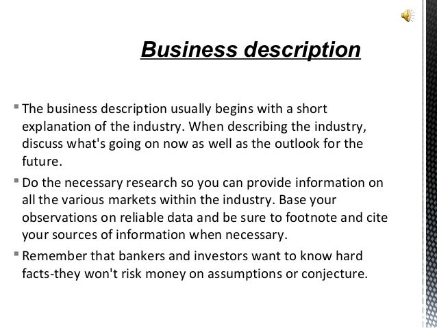 Business plan decription of buysiness