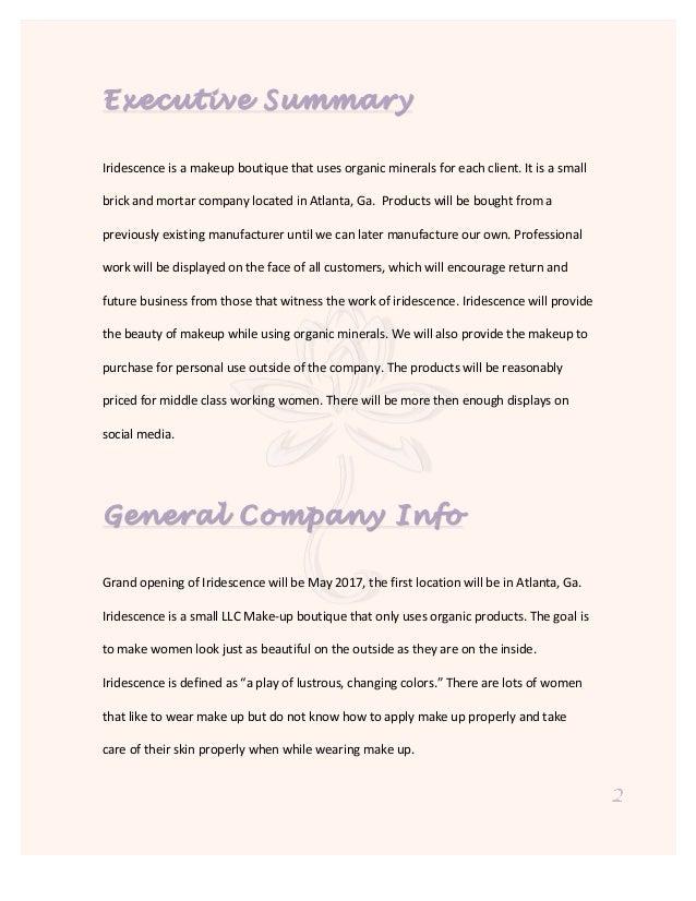 Makeup business plan samples