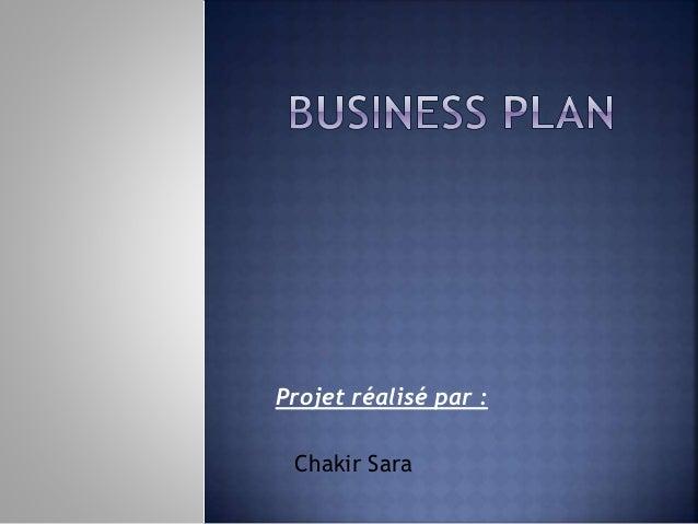 Projet réalisé par : Chakir Sara