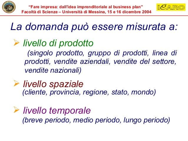 """""""Fare impresa: dall'idea imprenditoriale al business plan"""" Facoltà di Scienze – Università di Messina, 15 e 16 dicembre 20..."""