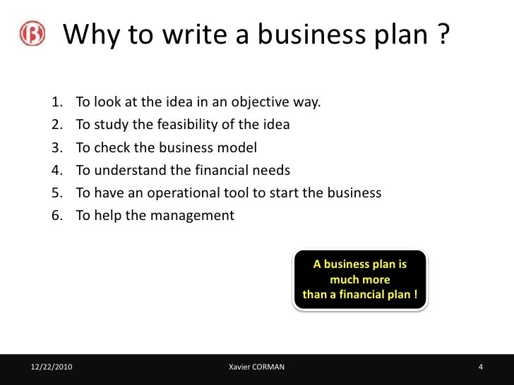 ... 4. Why To Write A Business Plan ?