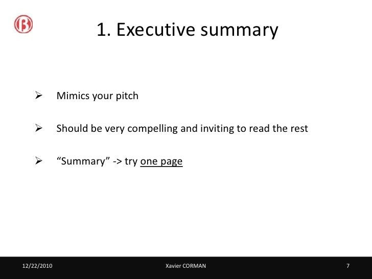 Business plan best practices – Best Executive Summary