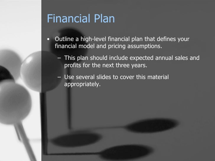 Financial Plan <ul><li>Outline a high-level financial plan that defines your financial model and pricing assumptions.  </l...