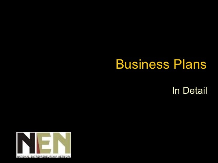 Business Plans In Detail