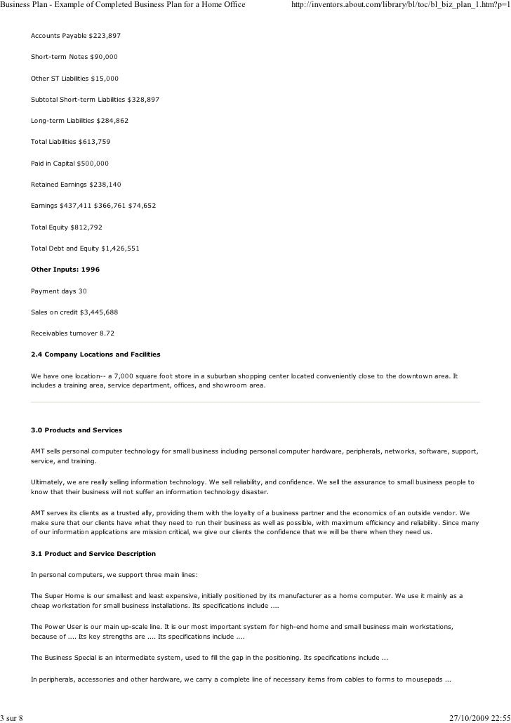 Business Plan Example Page Of Company A Limited Business Plan