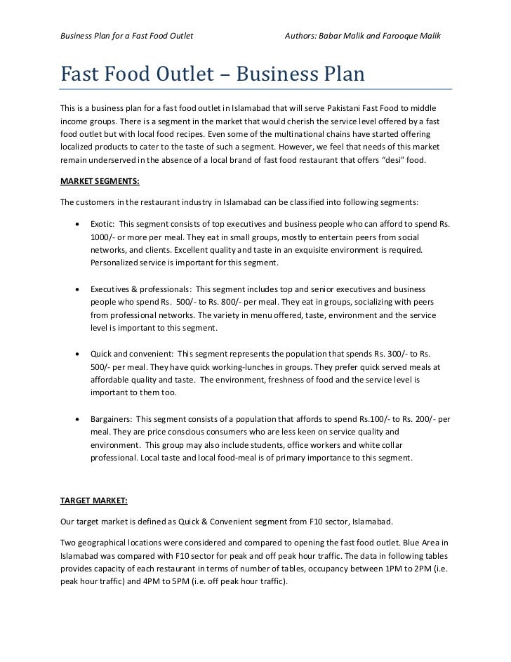 Food industry business plan