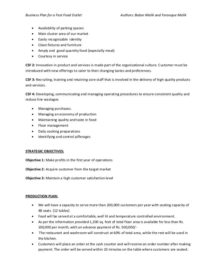 Business Plan Of Fast Food Restaurant - Fast food business plan template