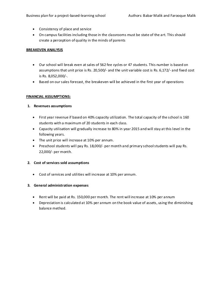 business plan for school project