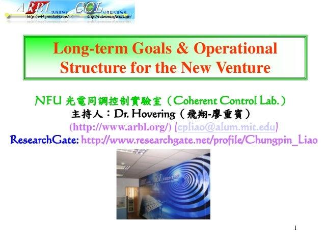 1 NFU 光電同調控制實驗室(Coherent Control Lab.) 主持人:Dr. Hovering(飛翔-廖重賓) (http://www.arbl.org/) (cpliao@alum.mit.edu) ResearchGate:...