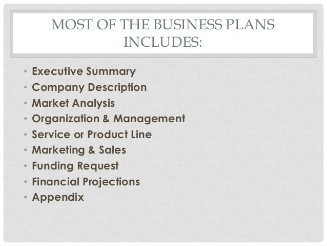 MOST OF THE BUSINESS PLANS               INCLUDES:•   Executive Summary•   Company Description•   Market Analysis•   Organ...