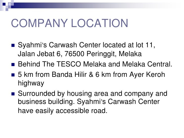 business plan syahmi car wash center