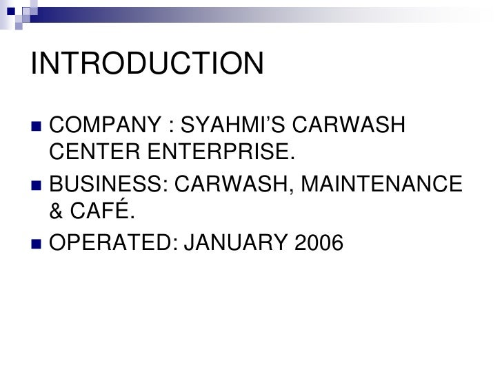 business plan syahmi car wash center