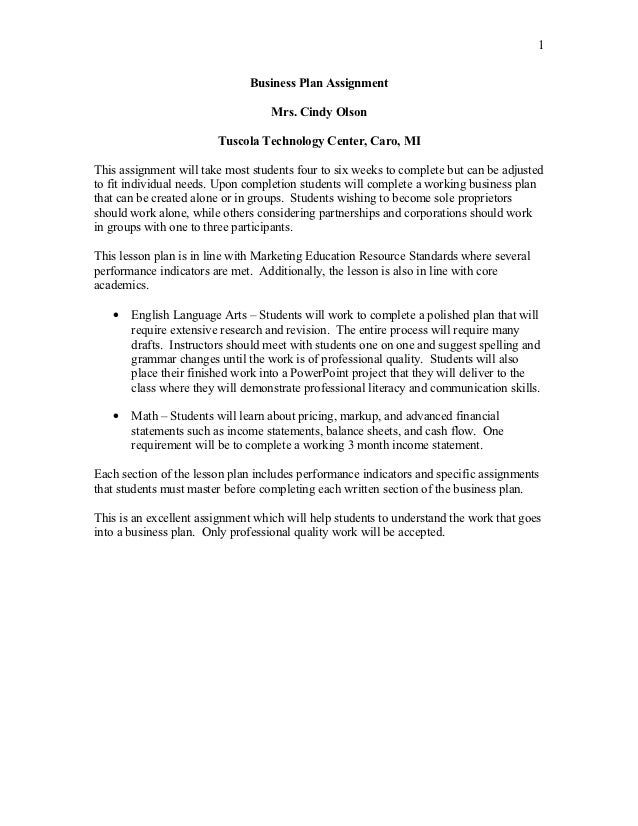 coffee shop business plan assignment instructions